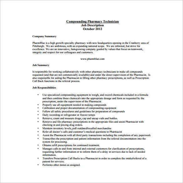 free compounding pharmacy technician job description pdf download