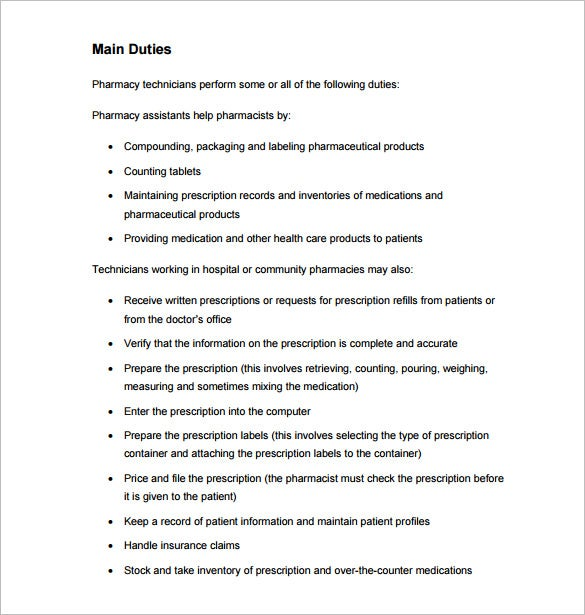pharmacy technician job description template