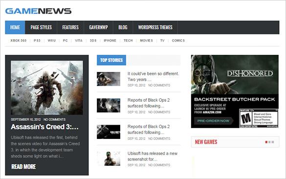 game news gaming psd theme