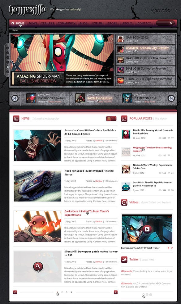 simple gaming psd template