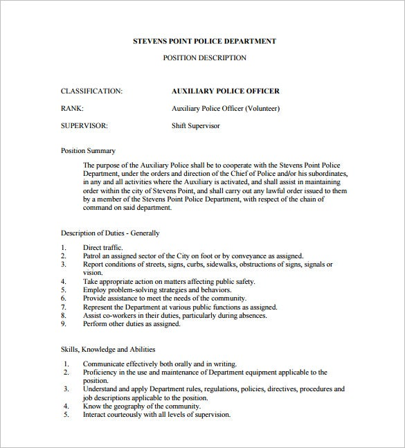 auxiliary police officer job description free pdf template