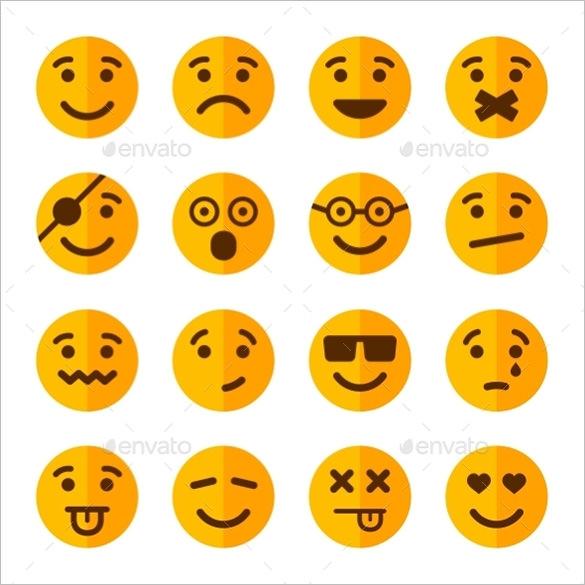 flat style smile emotion icons