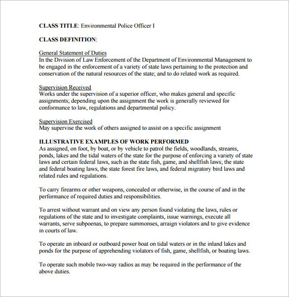 police officer job description for environmental pdf free download