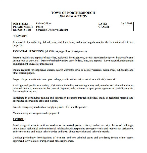 federal police officer job description free pdf template