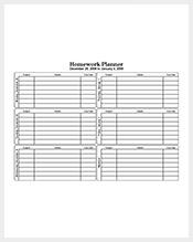Five-Day-Homework-Planner