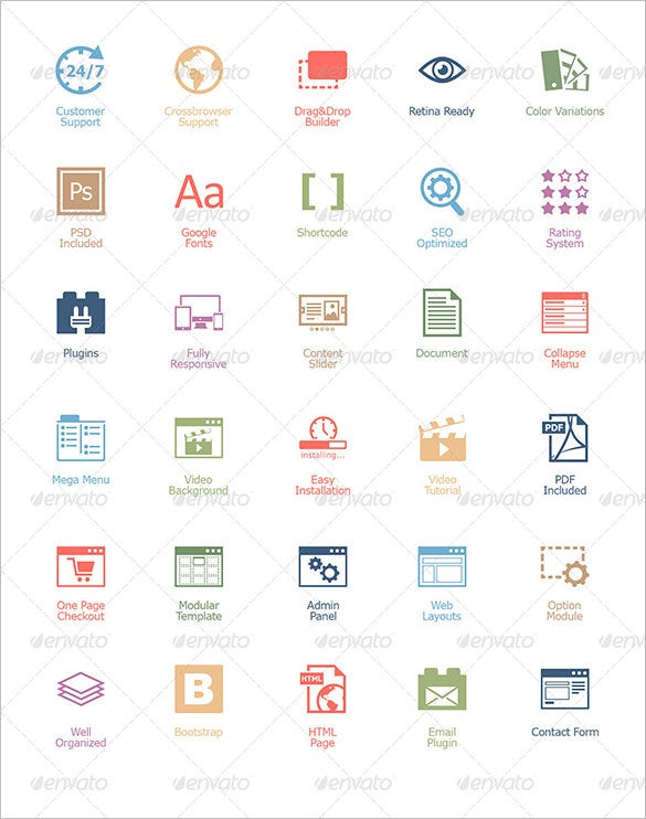 30 web design icon set