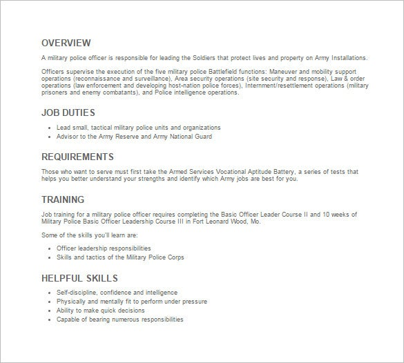 military police officer job description template