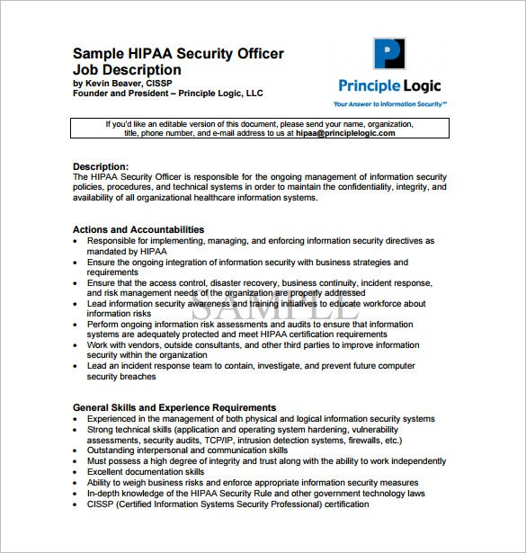 free security officer job description for hipaa pdf download
