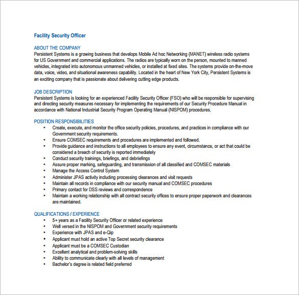 Security Officer Job Description Template   Free Word Pdf