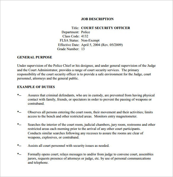 12+ Security Officer Job Description Templates – Free Sample