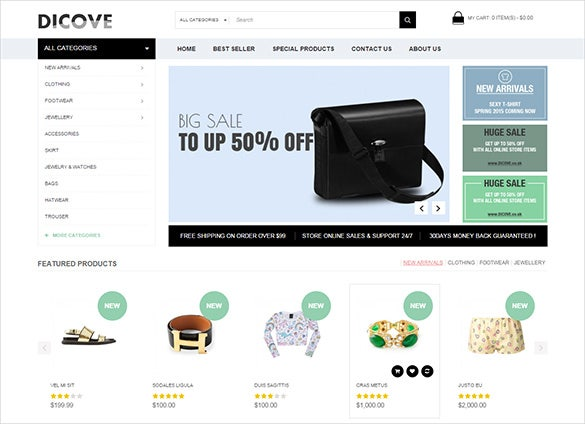 simple fashion opencart template