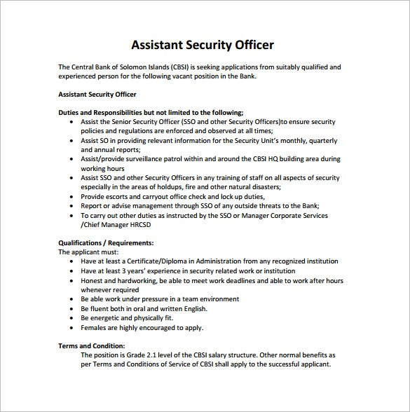 assistant security officer job description for bank free pdf template