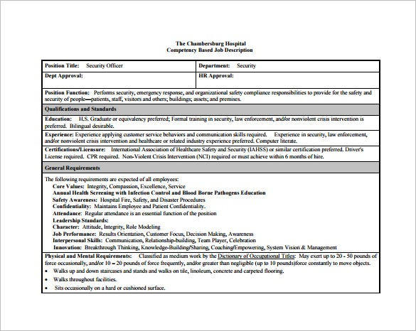security officer job description for hospital free pdf template