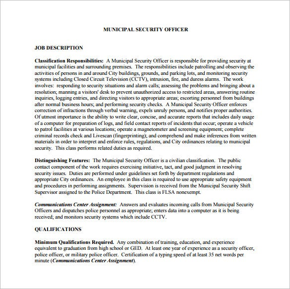 municipal security officer job description free pdf download