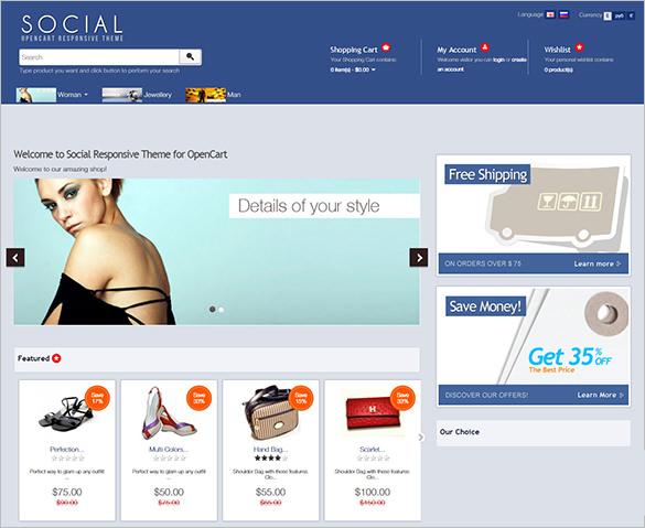 social responsive fashion opencart theme
