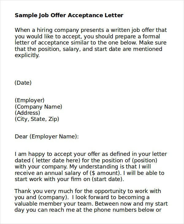 Job Acceptance Letter Teaching Position