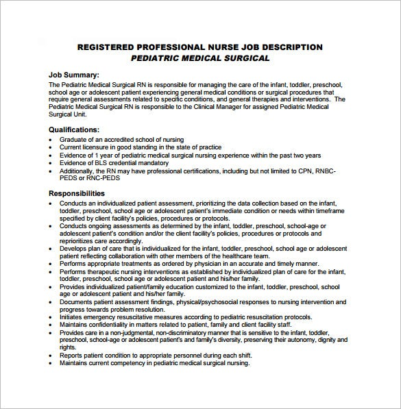 Registered Nurse Job Description Template   Free Word Pdf Format