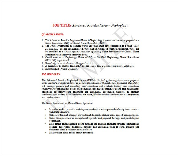 advance practice registered nurse job description free word template