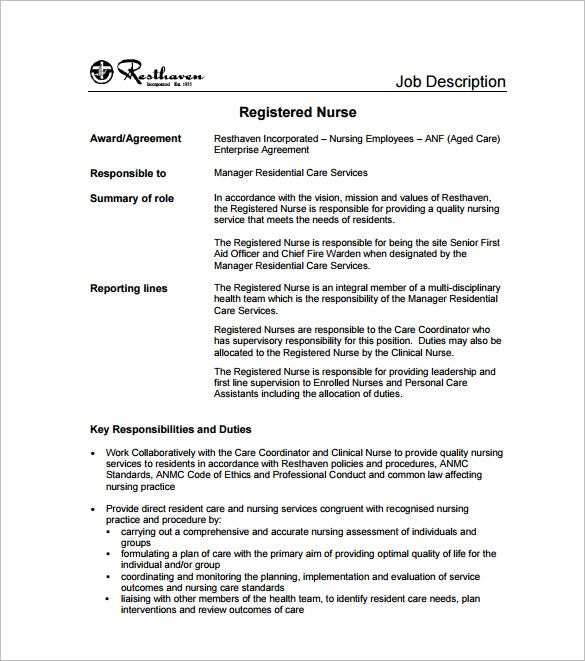 Registered Nurse Job Description Template   Free Word