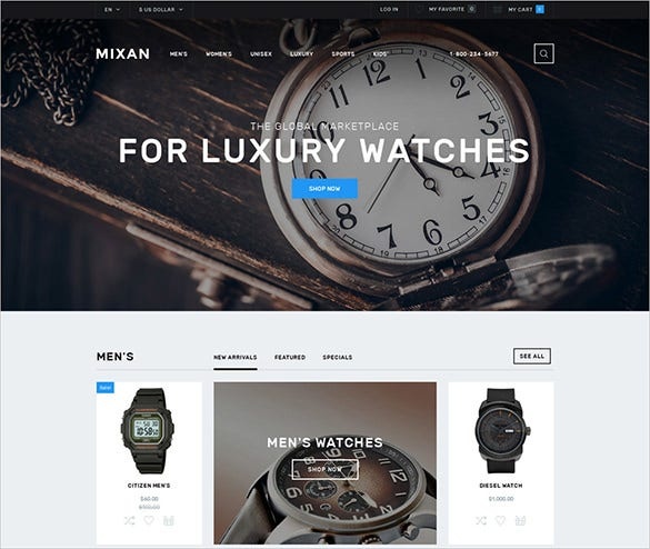 luxury watch fashion opencart bootstrap template
