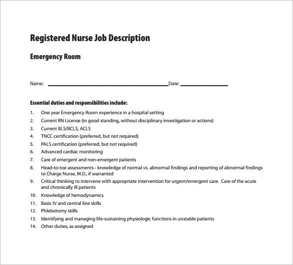 10+ registered nurse job description templates - free sample, Cephalic Vein