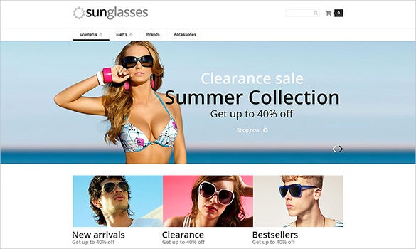 sun glasses fashion php opencart template