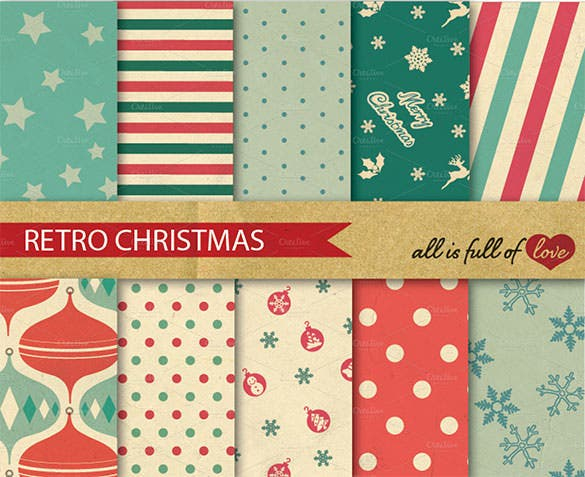 10 printable christmas retro pattern pack