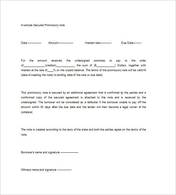 Secured Promissory Note Template 8 Free Word Excel PDF Format – Promisory Note Example