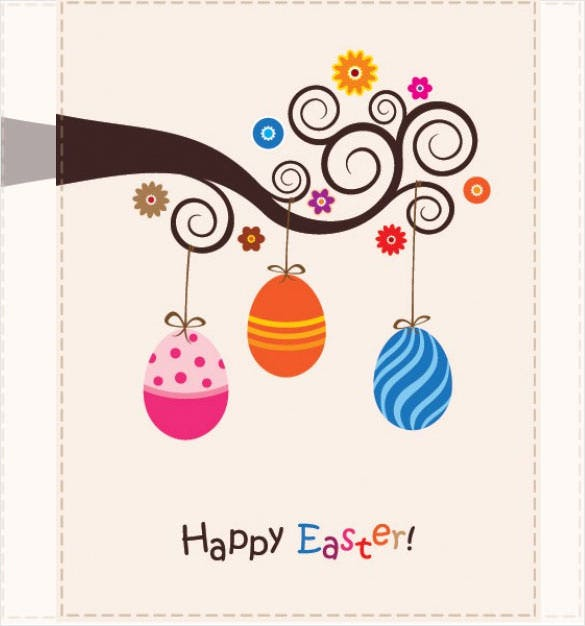 cute easter card free vector download