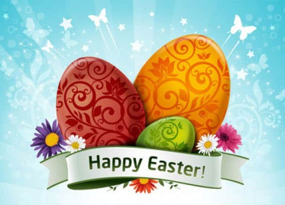 colorful easter eggs and flowers free vector