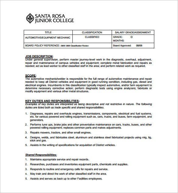 Superieur Auto Mechanical Engineering Job Description Free PDF Template