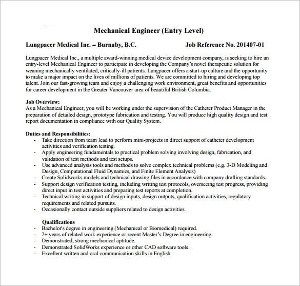 mechanical engineering job description for entry level free pdf download