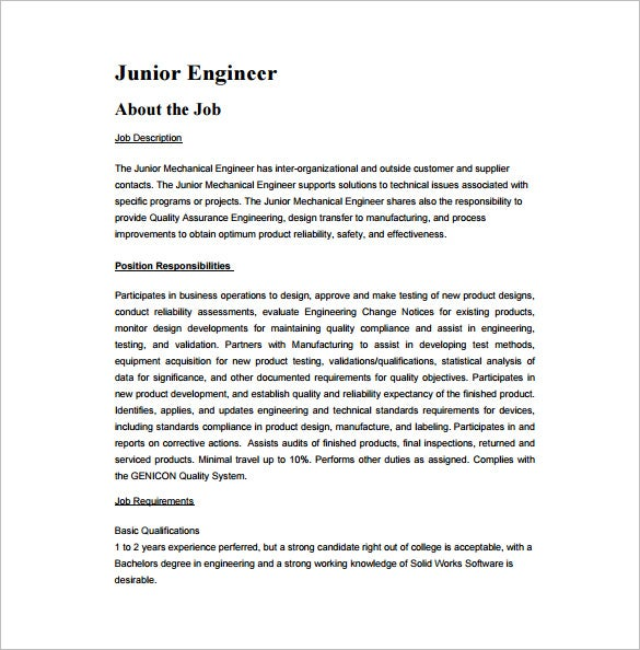 Charming Junior Mechanical Engineering Job Description Free PDF Template