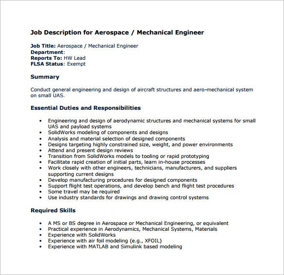 Mechanical Engineering Job Description Template   Free Word