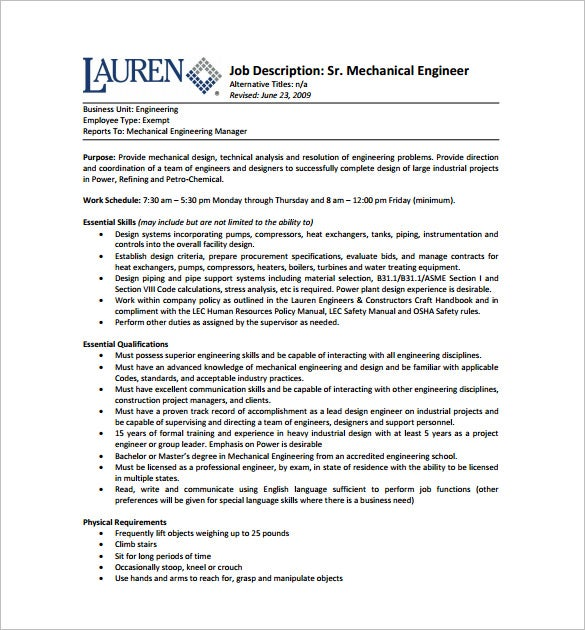 Senior Mechanical Engineering Job Description Free PDF Template