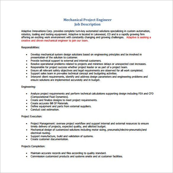 mechanical project engineering job description free pdf