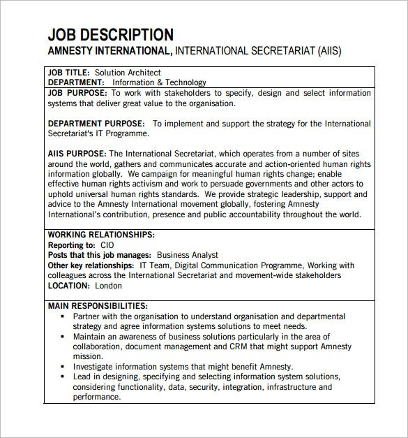 10 Architect Job Description Templates Free Sample Example – Job Description Form Sample
