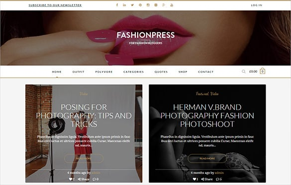 fashion news letter website template