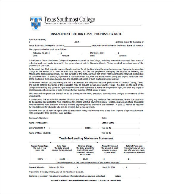 Texas Promissory Installment Note Legal Form. Tsc.edu. Free Download  Promissory Note Free Download