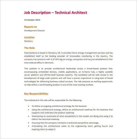 Architect Job Description Template   Free Word Pdf Format