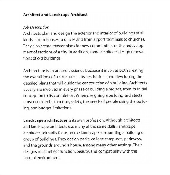 Architect Job Description Template – 10+ Free Word, Pdf Format