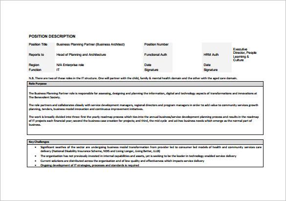architect job description for business free pdf download