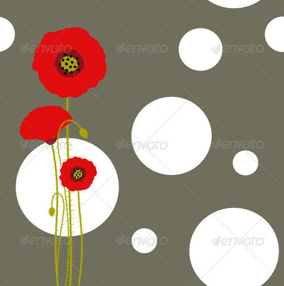 red poppy on brown background vector eps