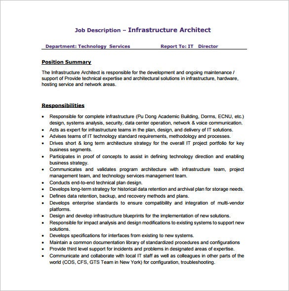 Free Infrastructure Architect Job Description PDF Download