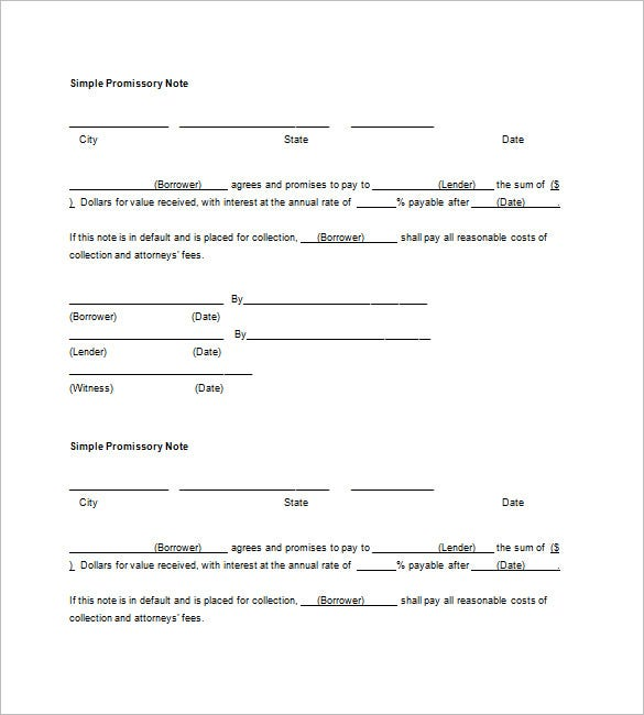 Blank Promissory Note Word On Printable Promissory Note Form