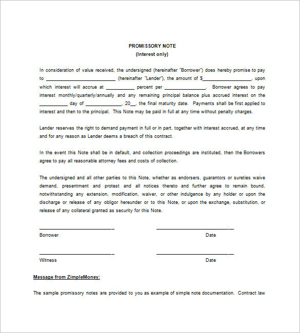 Free Printable Blank Promissory Note Download  Promissory Note Template