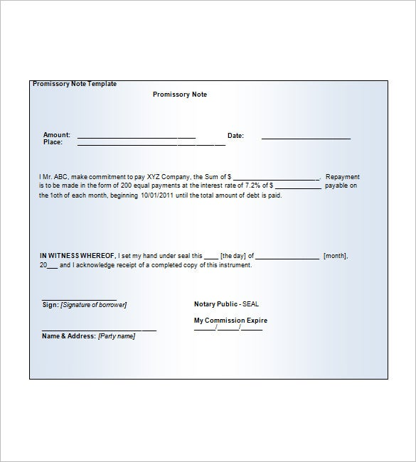 Blank Promissory Note 8 Free Word Excel PDF Format Download – Promissory Note Free Download