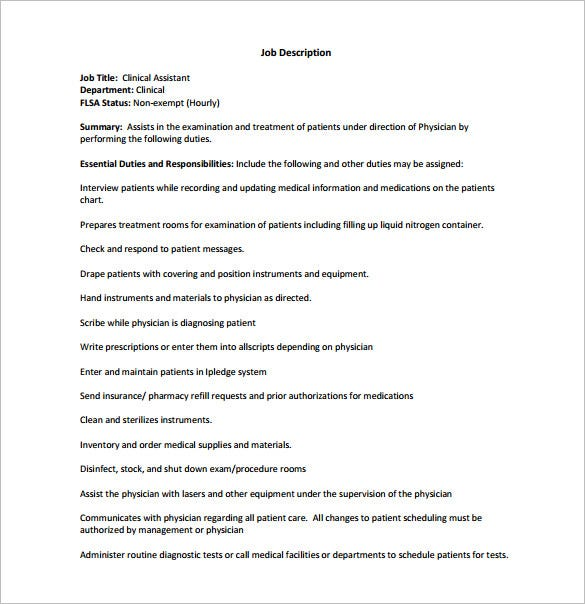 Medical Assistant Job Description Template 10 Free Word Excel – Medical Assistant Job Dutie
