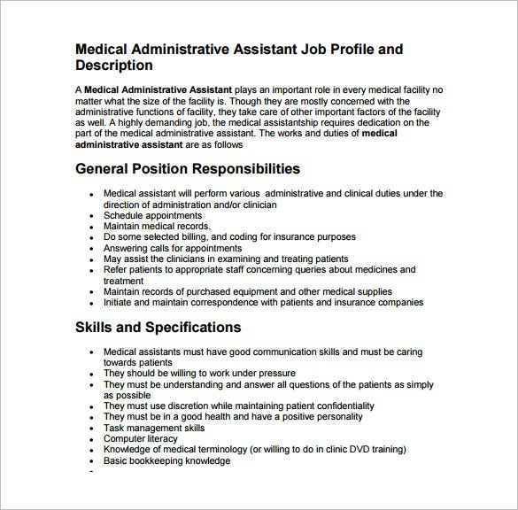 Medical Assistant Job Description Template   Free Word Excel