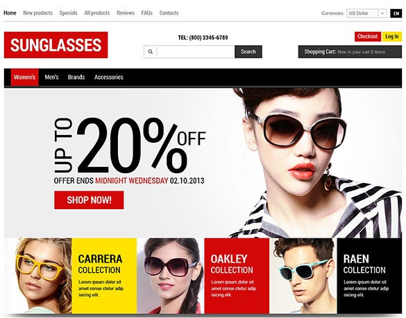 sun glasses zencart template